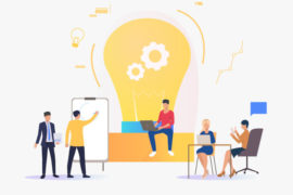 Light bulb, people discussing ideas and working. Innovation, study, work concept. Vector illustration can be used for topics like business, education, research
